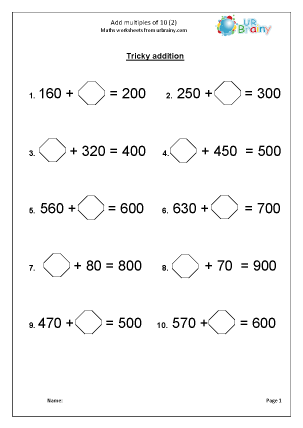 math worksheet : add multiples of 10 2 addition maths worksheets for year 3 age 7 8  : Multiples Of 10 Worksheet