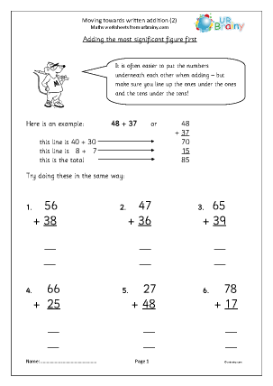 Preview of worksheet  Moving towards written addition (2)