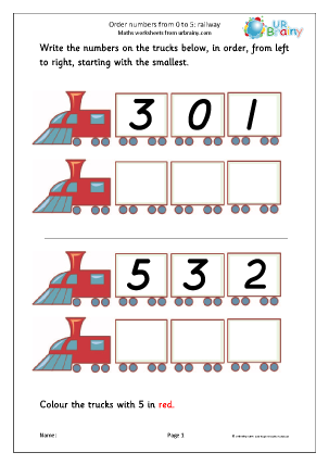 Preview of worksheet Order 3 numbers - railway