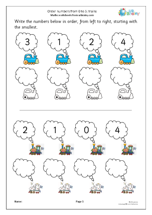 Preview of worksheet Order four numbers: trains