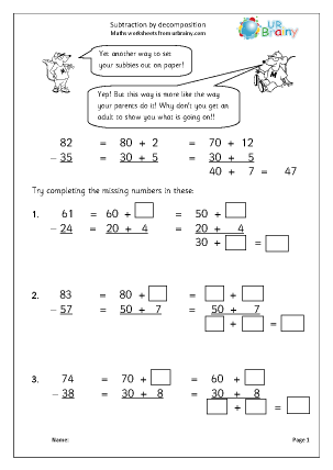 Double digit subtraction worksheets