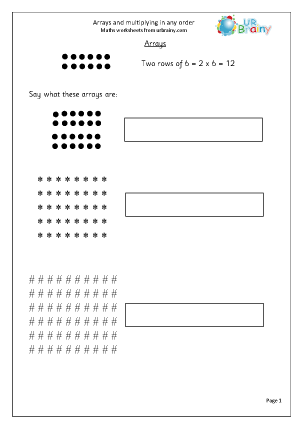 Preview of worksheet  Revise arrays and multiplying in any order
