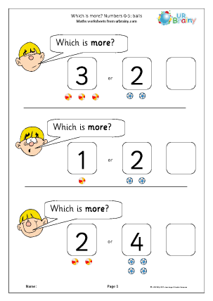 Preview of worksheet Which number is more? Balls