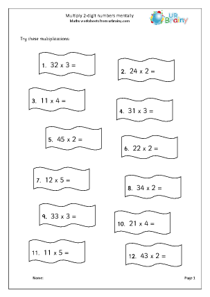 Preview of worksheet Multiply  2-digit numbers mentally