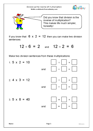 Preview of worksheet Division: inverse of multiplication