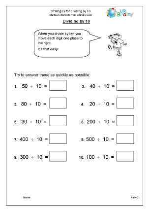 Strategies for Dividing by 10