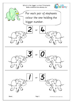 Preview of worksheet Which number is bigger? Elephants