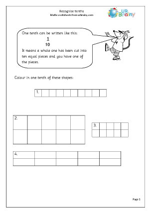 Preview of worksheet Recognise tenths