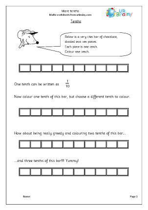 URBrainy Maths Worksheets Year 3 (age 7-8) Fractions More Tenths