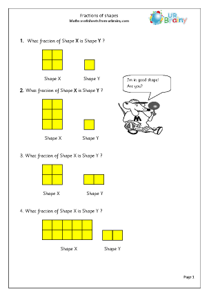 Preview of worksheet Find fractions of shapes