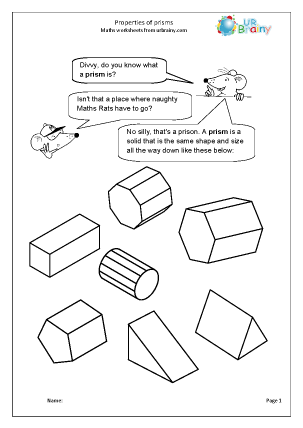 Preview of worksheet Prisms