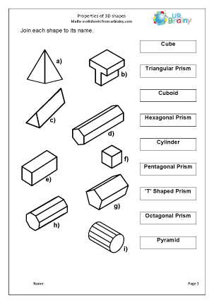 Preview of worksheet  Properties of 3D Shapes