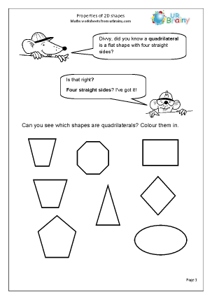 Preview of worksheet  Properties of 2D Shapes