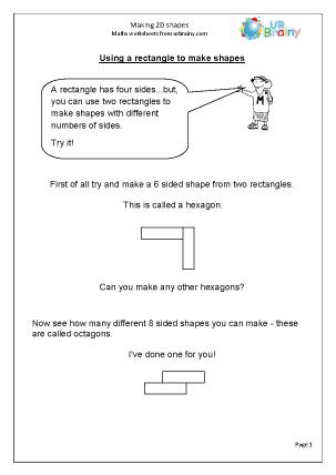 Preview of worksheet  Make 2D shapes
