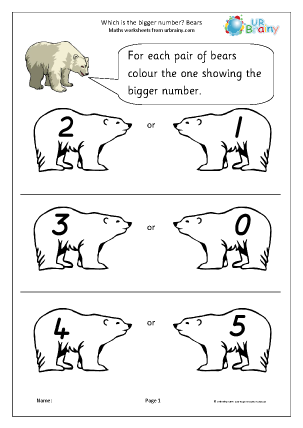 Preview of worksheet Which number is bigger? Bears