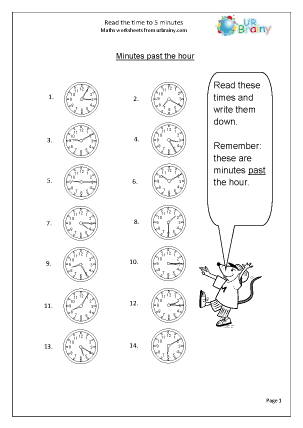 Preview of worksheet Read the time to 5  minutes