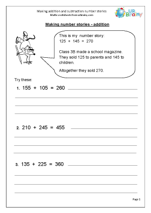 Number Stories Worksheets - Laptuoso