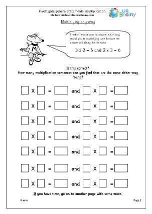 Preview of worksheet Investigate statements: multiplication