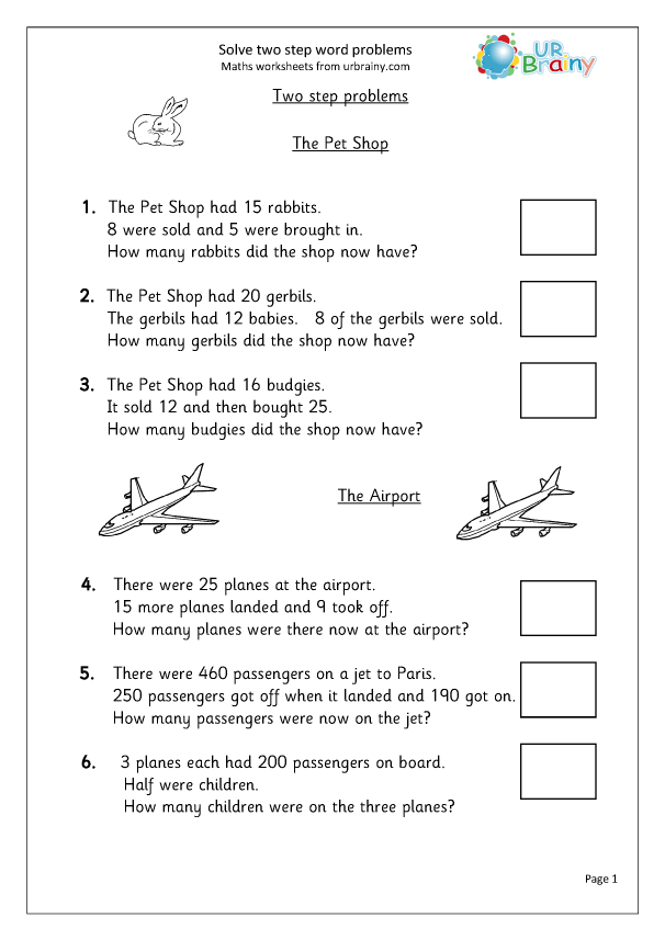 Solve Two Step Word Problems - Reasoning/Problem Solving Maths Worksheets  For Year 3 (age 7-8) By URBrainy.com
