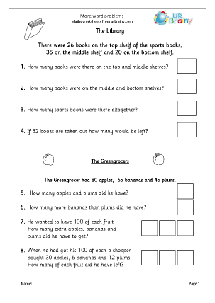 Preview of worksheet More word problems