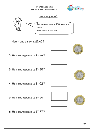 Preview of worksheet Pounds and pence