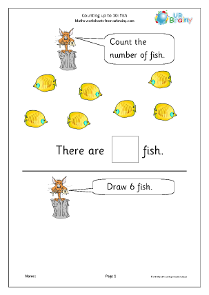Preview of worksheet Counting up to 10 - fish