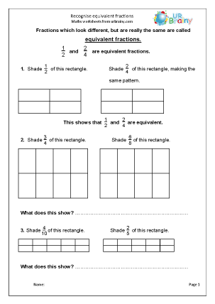 Preview of worksheet Recognise equivalent fractions