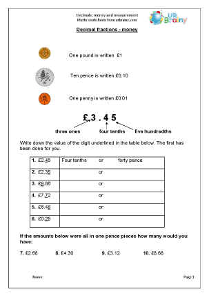 Preview of worksheet Decimals: money and measurement