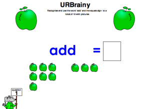 Preview of game Use 'add' and the equals sign to a total of 10 with pictures