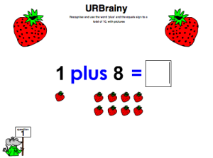Preview of game Use 'plus' and the equals sign to a total of 10 with pictures