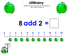 Preview of game Use 'add' and the equals sign to a total of 10 with a number line