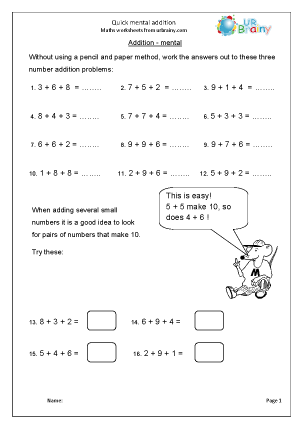 Preview of worksheet Quick mental addition