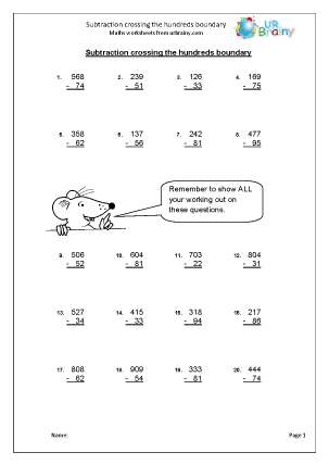 Subtraction Maths Worksheets for Year 4 (age 8-9)