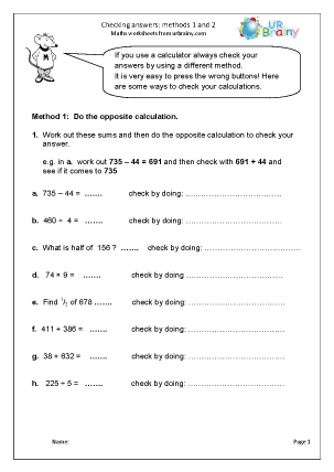 Preview of worksheet Checking answers: methods 1 and 2
