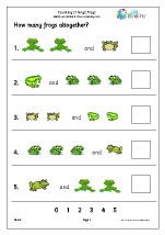 counting two sets frogs counting maths worksheets for later reception age 4 5. Black Bedroom Furniture Sets. Home Design Ideas