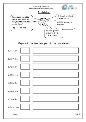 Preview of worksheet Explaining methods
