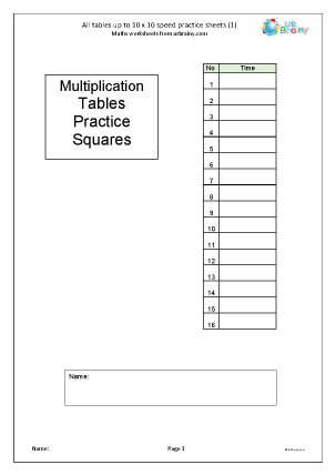 Preview of worksheet   Multiplication speed practice sheets (1)