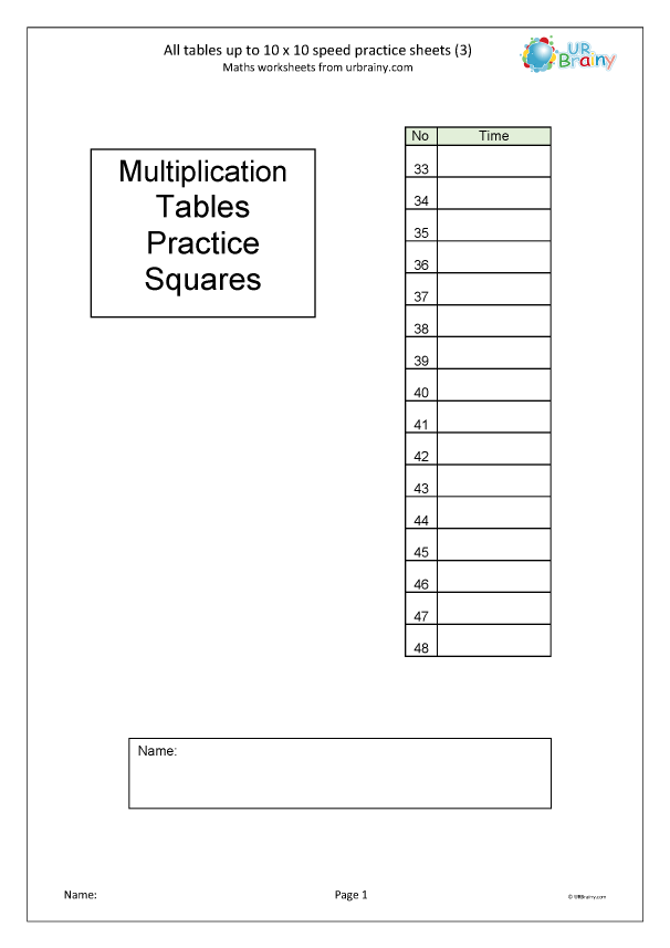 Preview of '  Multiplication speed practice sheets (3)'