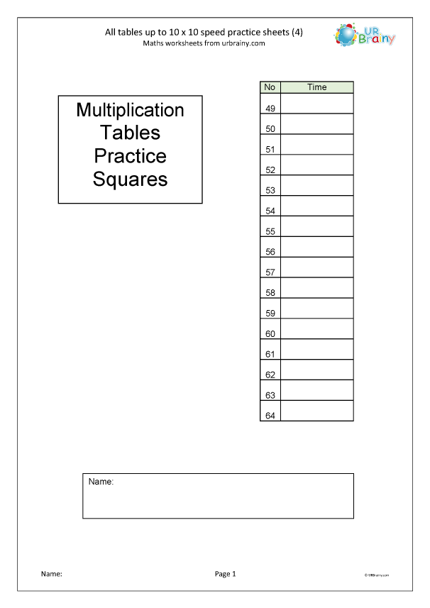 Preview of '  Multiplication speed practice sheets (4)'