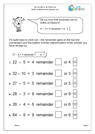 Preview of worksheet Remainders as fractions