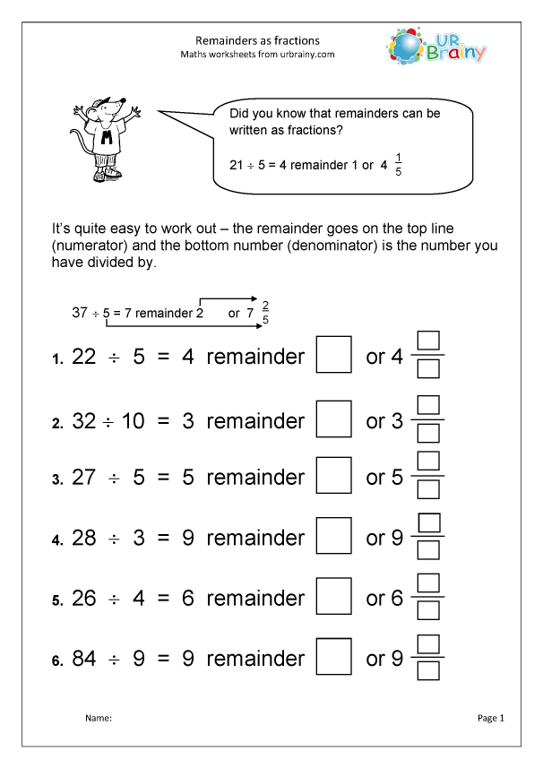 Preview of 'Remainders as fractions'