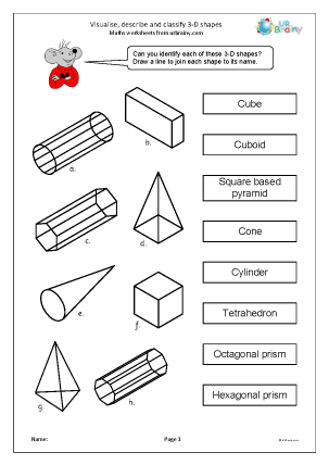 Preview of worksheet  Visualise describe and classify 3D shapes