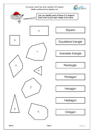 Preview of worksheet  Visualise describe and classify 2D shapes