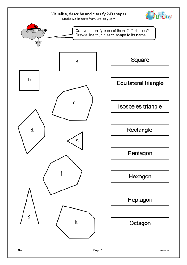 Preview of ' Visualise describe and classify 2D shapes'