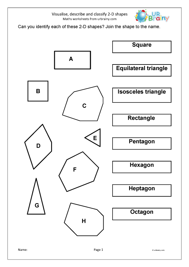 Visualise Describe And Classify 2D Shapes - Geometry (Shape) Maths  Worksheets For Year 4 (age 8-9) By URBrainy.com
