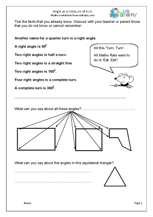 Preview of worksheet  Angle as a measure of turn