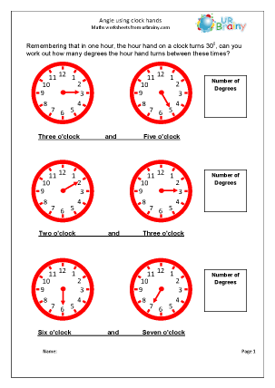 Preview of worksheet Angle using clock hands