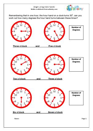 Angle using clock hands