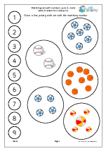 matching balls to a number line counting and matching maths worksheets for later reception age 4 5. Black Bedroom Furniture Sets. Home Design Ideas