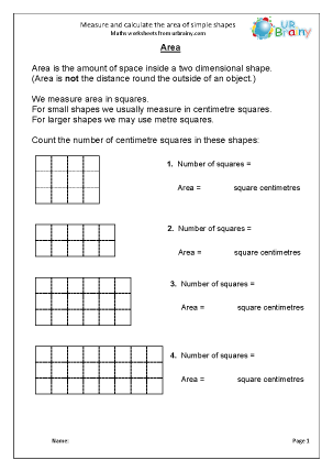 Preview of worksheet Measure and calculate the area of simple shapes